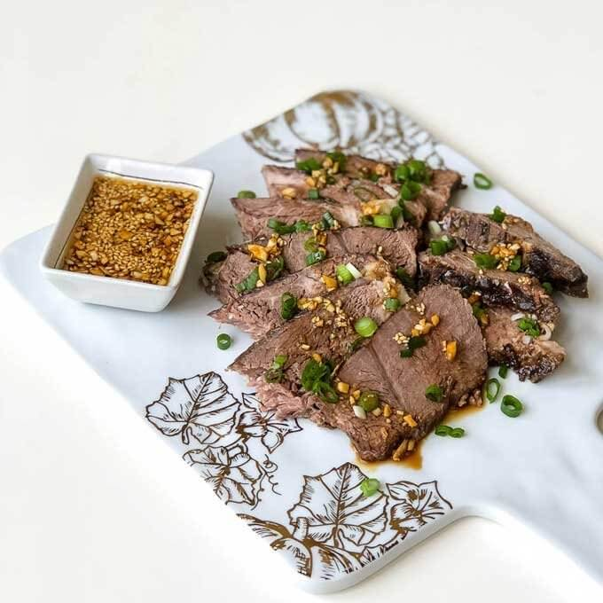 Slow cooker sesame beef with dipping sauce