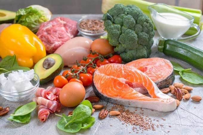 Keto foods - salmon, broccoli, avocado, chicken, coconut oil