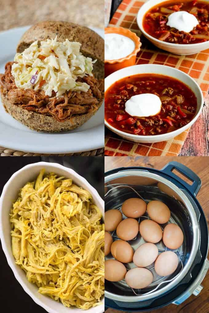 Keto Instant Pot recipes - pulled pork, garlic chicken, hard boiled eggs, goulash