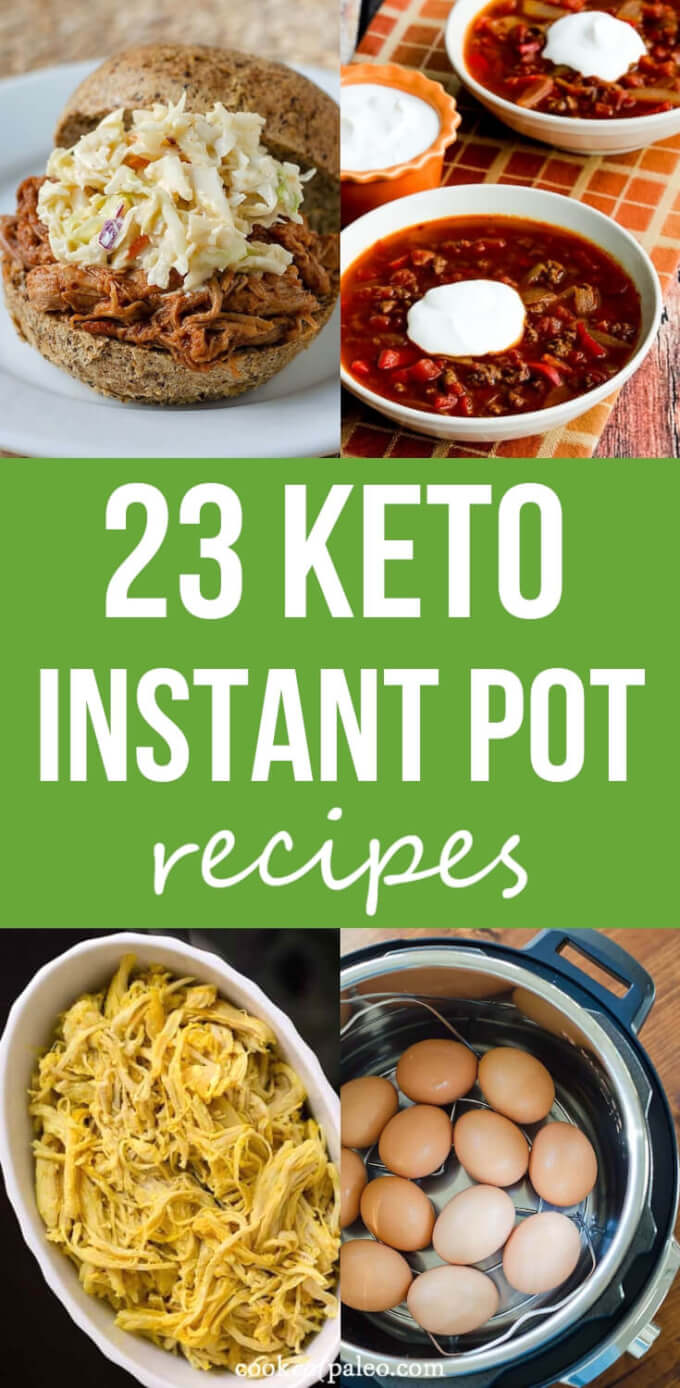 Fast and easy keto instant Pot recipes including low carb chicken recipes, soup, dinners and side dishes. #ketoinstantpotrecipes #ketoinstantpotchicken #ketoinstantpotlowcarb #ketoinstantpotsoup #lowcarbinstantpotrecipes #cookeatpaleo