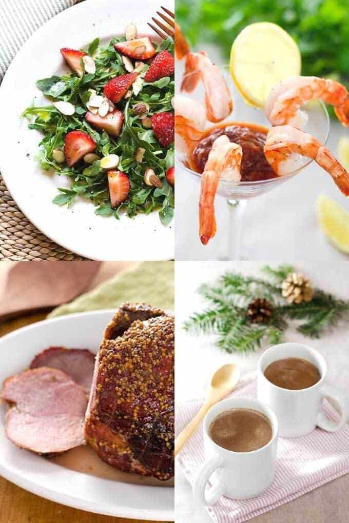 Keto Christmas Recipes - red and green strawberry salad, shrimp cocktail, baked ham, peppermint hot chocolate