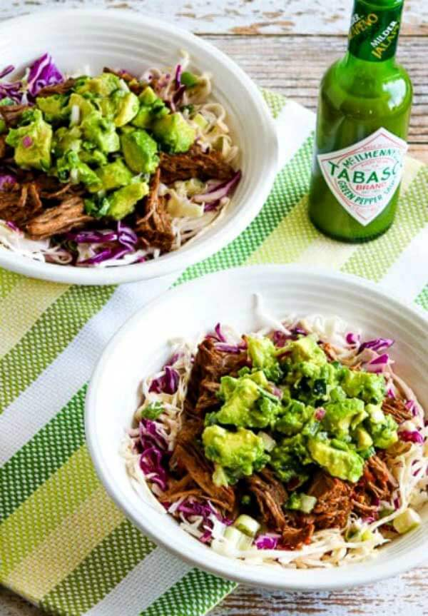 Slow Cooker Green Chile Shredded Beef Cabbage Bowl with Avocado Salsa from Kalyn's Kitchen