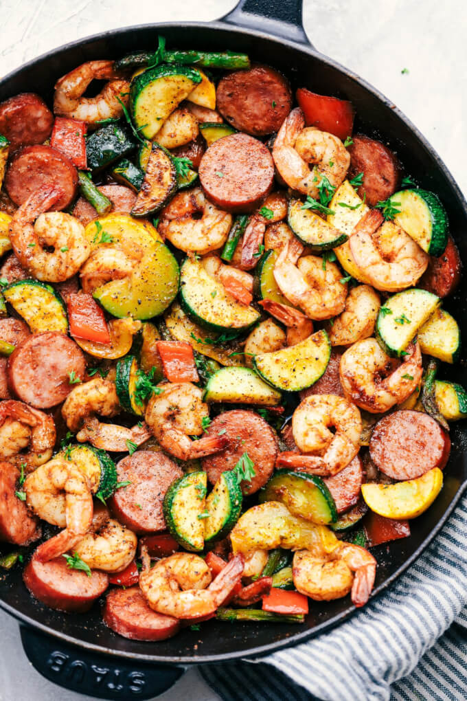 Cajun Shrimp and Sausage Vegetable Skillet from The Recipe Critic