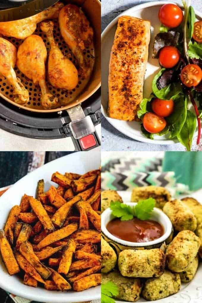 Paleo air fryer chicken, salmon, sweet potato fries and cauliflower tots