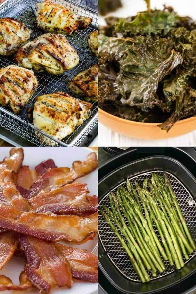 Keto air fryer recipes - chicken thighs, bacon, kale chips, asparagus