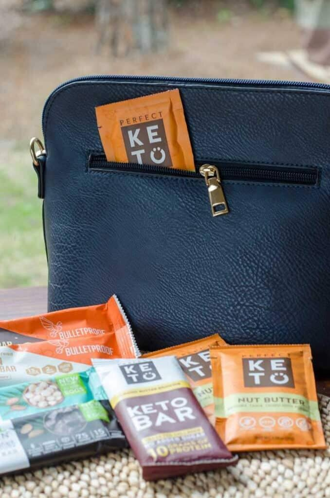 Keto snacks bars and packs with bag