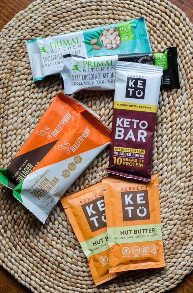 Keto bars and squeeze packs