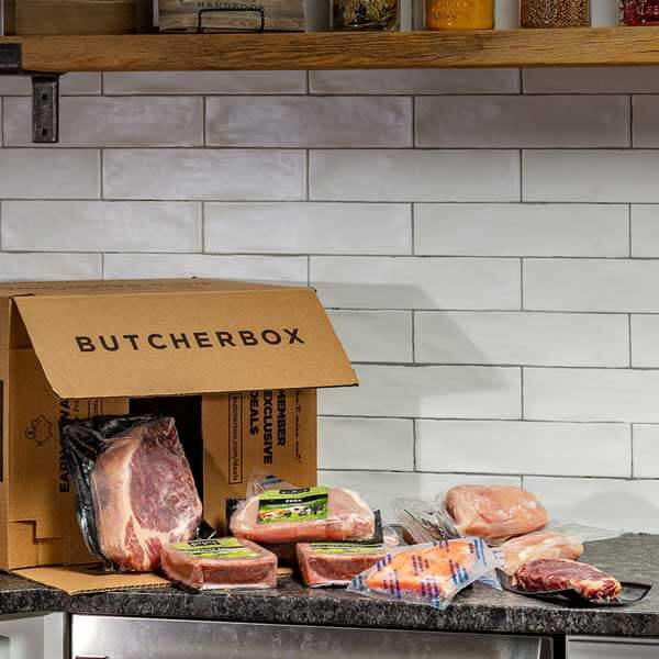 ButcherBox meat delivery in kitchen