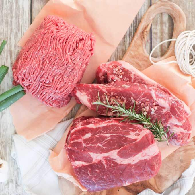 Grass fed, grass-finished beef - ground beef, steaks and roast
