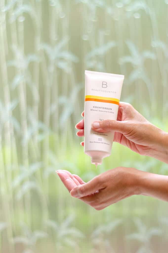 Mineral sunscreen lotion made with safer sunscreen ingredients