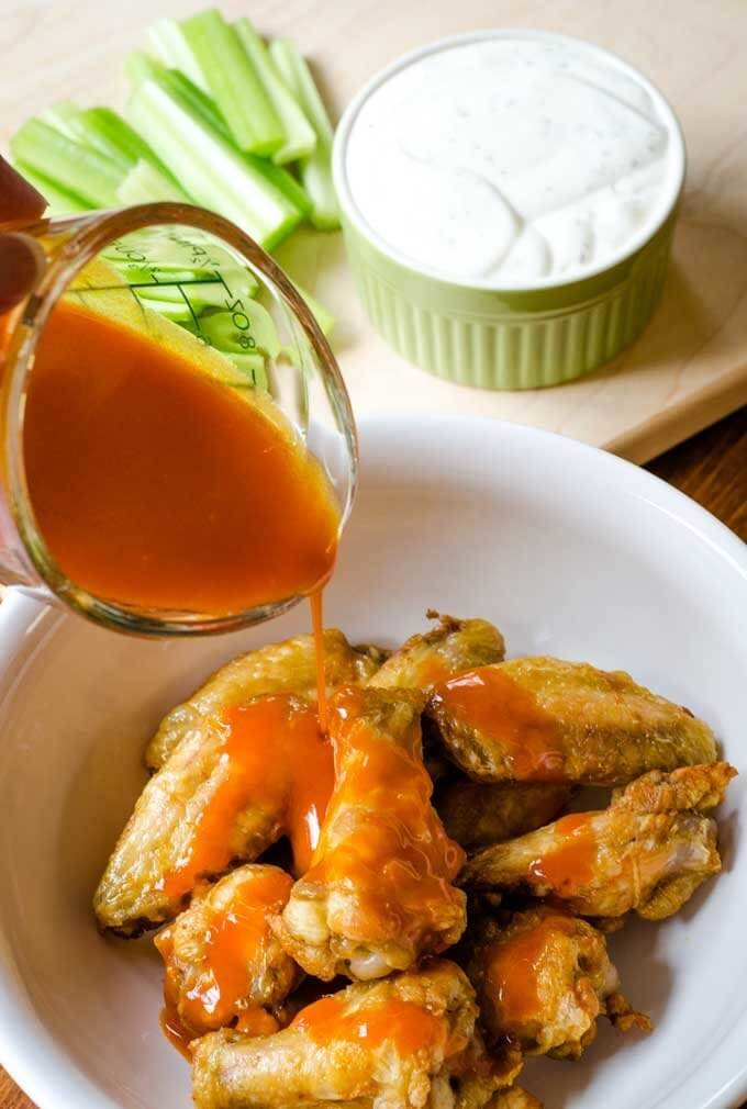 Air fried chicken wings with Buffalo sauce - Cook Eat Paleo