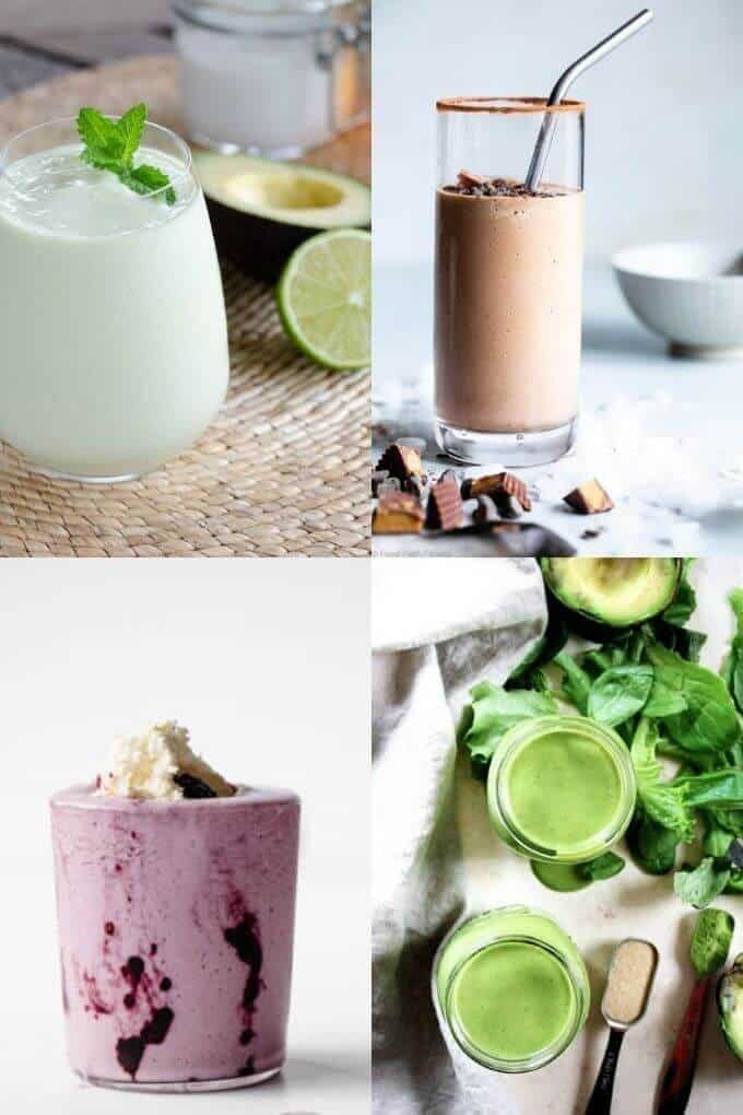 Keto Smoothies including avocado, chocolate, berries and green smoothies