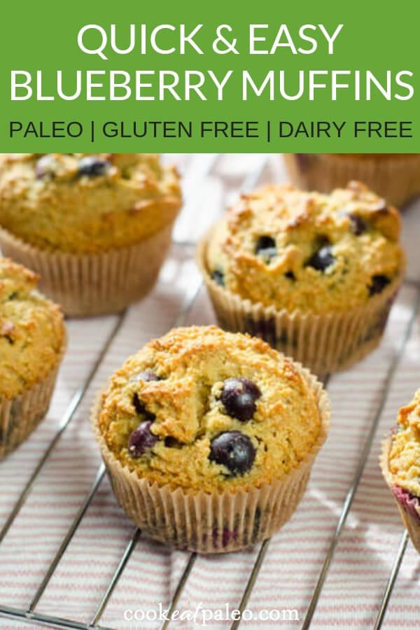Paleo Blueberry Muffins Recipe (Gluten Free, Grain Free, Dairy Free)