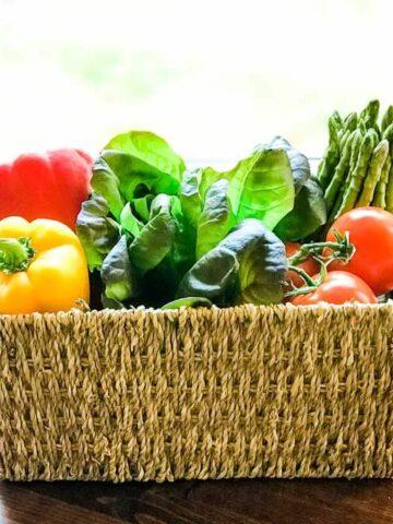 Basket of fresh paleo friendly vegetables