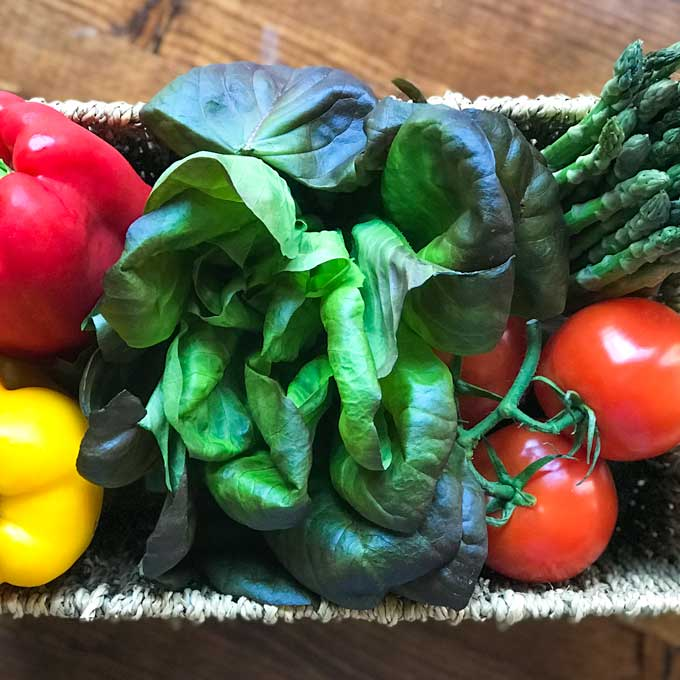 A basket of fresh produce