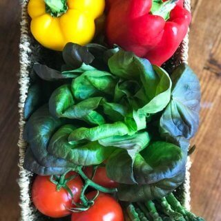 Fresh organic vegetables in basket