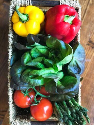 Fresh organic vegetables in basket
