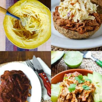 Instant Pot spaghetti squash, pulled pork, salsa chicken, ribs