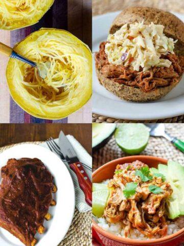 Instant Pot spaghetti squash, pulled pork, salsa chicken, ribs