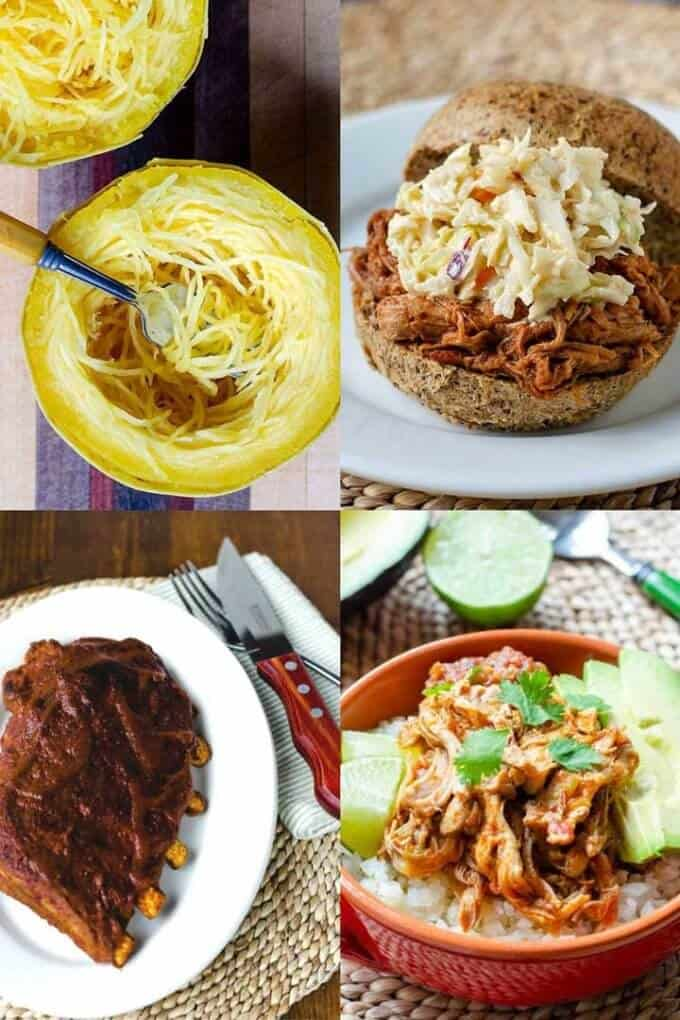Instant Pot spaghetti squash, pulled pork sandwich, salsa chicken burrito bowl, barbecue ribs