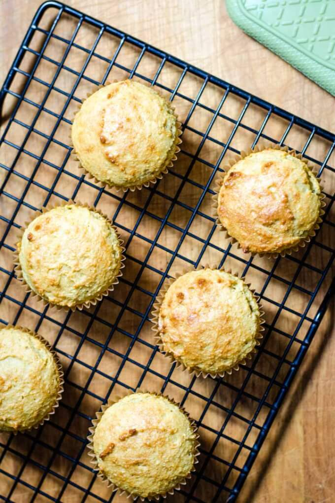Almond flour banana muffins on cooling rack