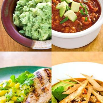 Paleo Mexican recipes - guacamole, chili, grilled chicken, chicken tortilla soup