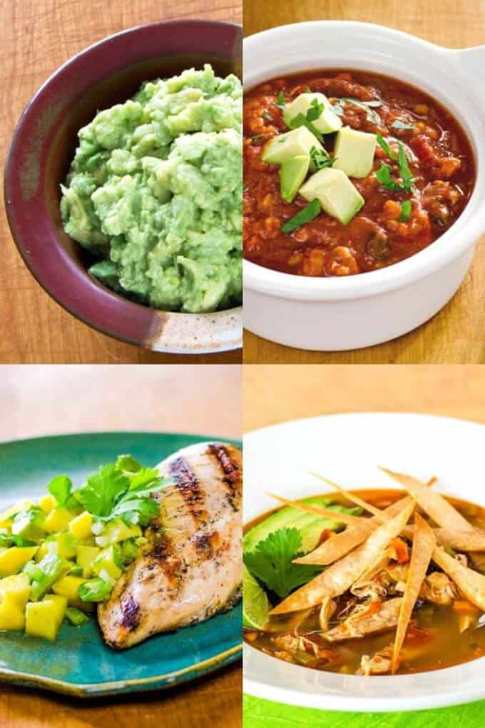 Paleo Mexican recipes - guacamole, chili, grilled chicken, chicken tortilla soup