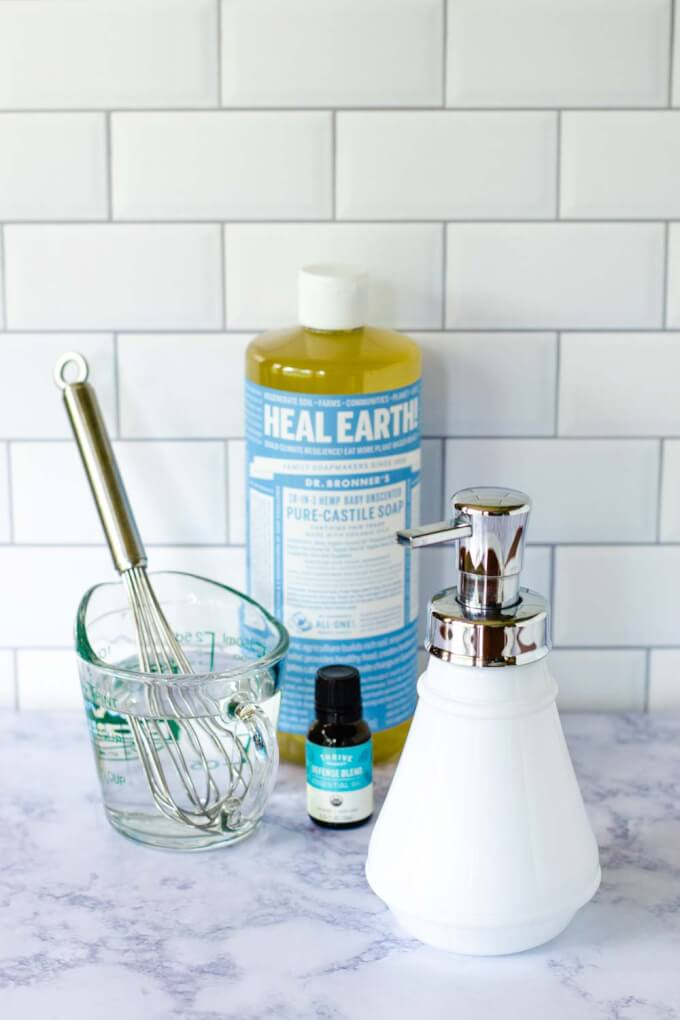 Ingredients for hand soap - Castille soap, water, essential oil, foaming dispenser
