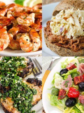 shrimp, grilled chicken, pulled pork, salad