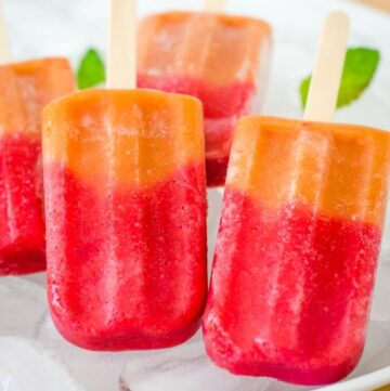 Strawberry peach popsicles