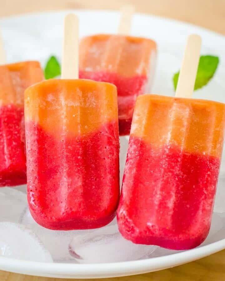 Strawberry peach popsicles