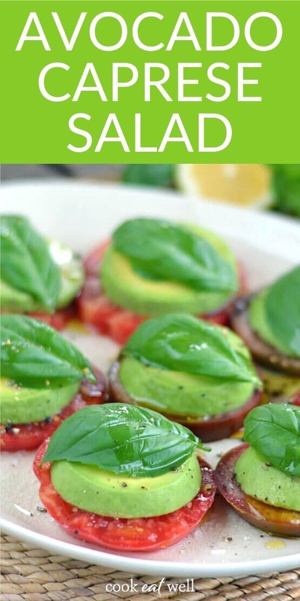 Avocado Caprese Salad (Keto, Vegan, Paleo)