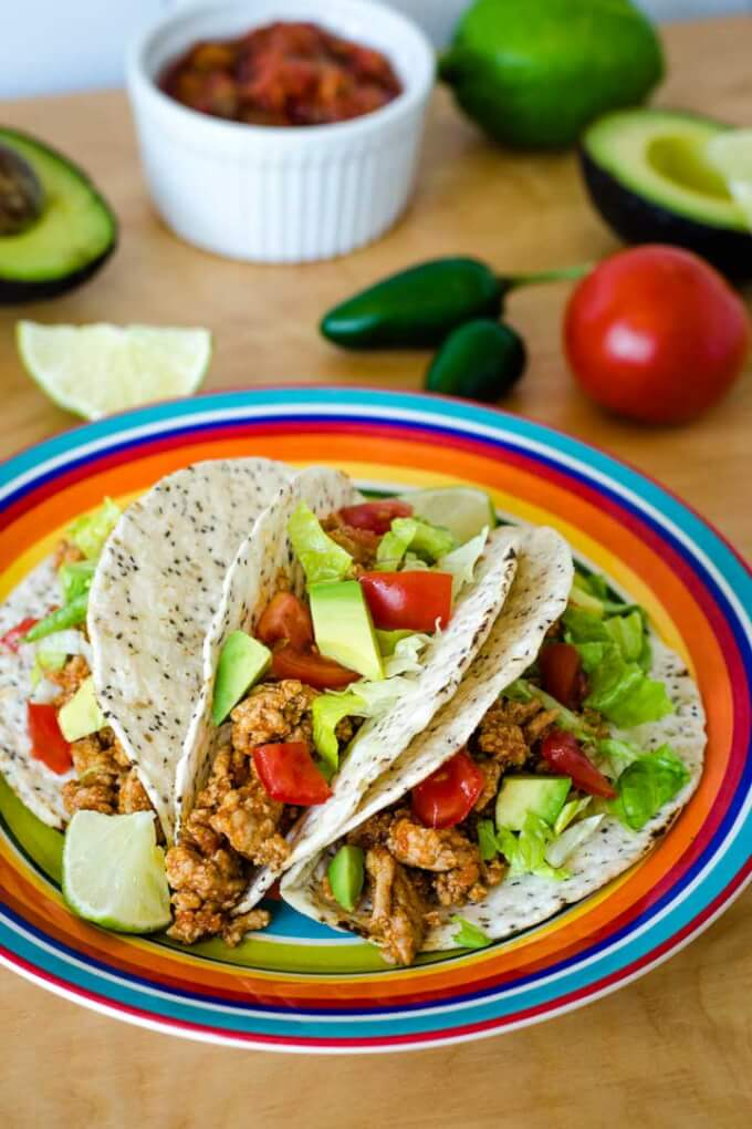 Tacos with tomato and avocado