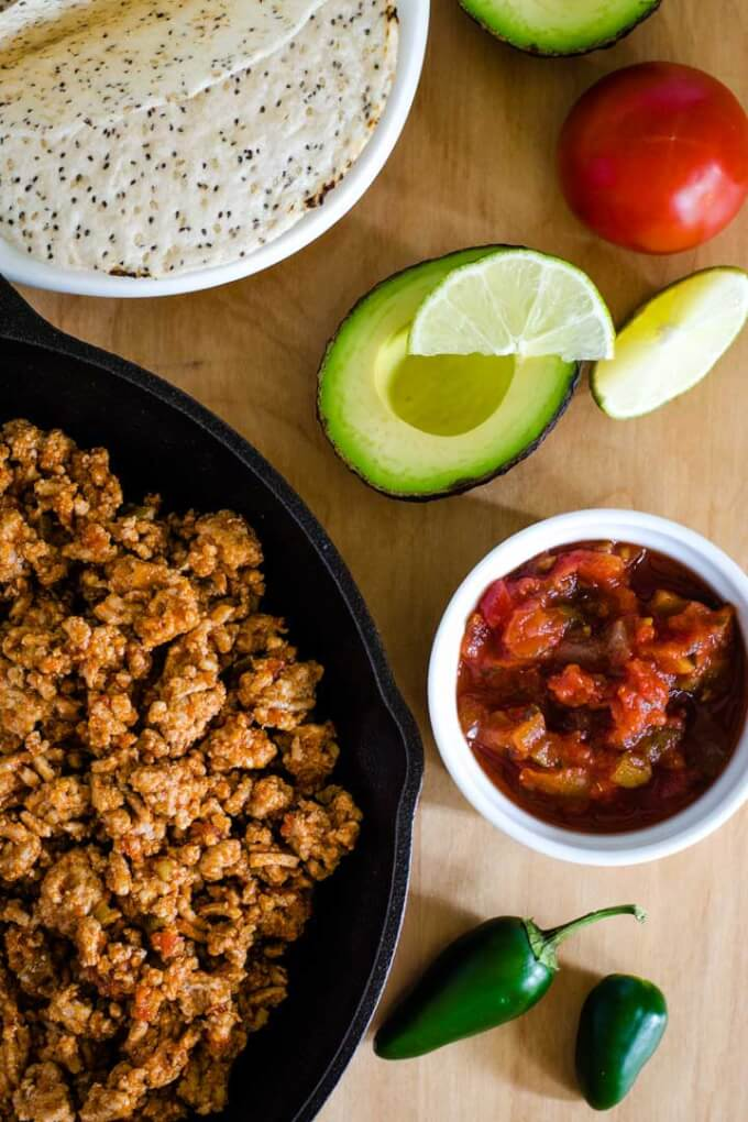 Taco meat and fixings