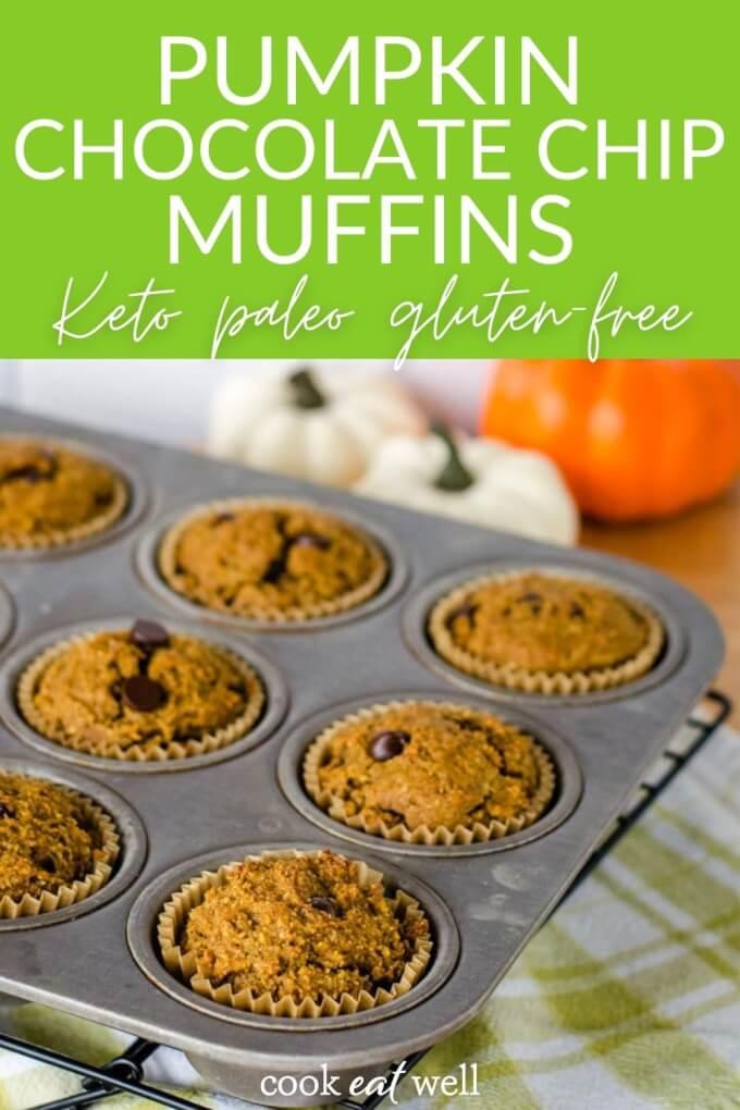 Pumpkin Chocolate Chip Muffins (Keto, Paleo, Gluten Free)