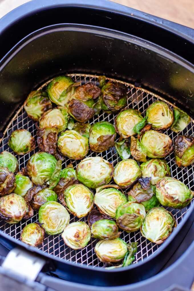 Roasted Brussels sprouts in airfryer basket
