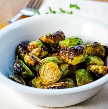 Air fryer Brussels sprouts with balsamic