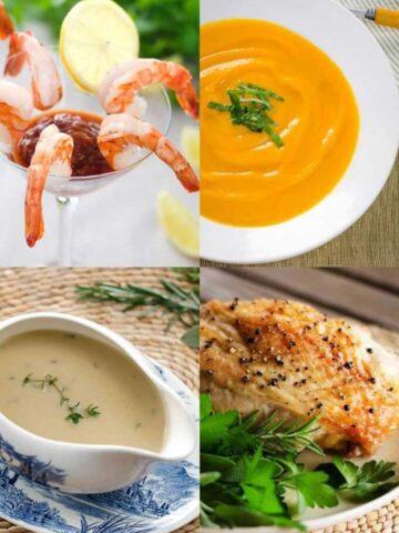 Whole30 holiday recipes - shrimp cocktail, sweet potato soup, gravy, turkey
