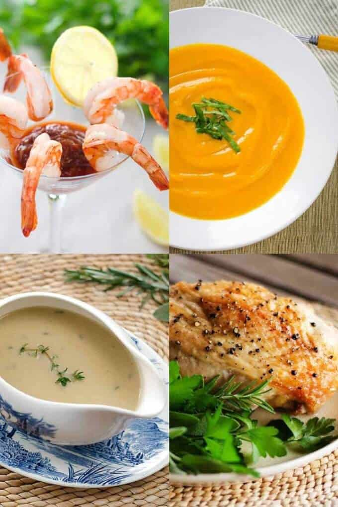 Whole30 holiday recipes - shrimp cocktail, sweet potato soup, gravy, turkey