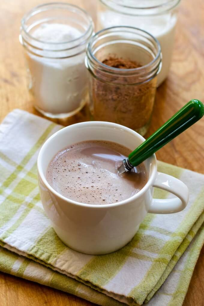 Hot chocolate, cacao powder, low carb sweetener