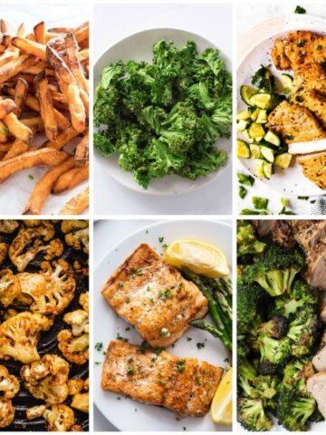 Whole30 air fryer fries, broccoli, chicken, cauliflower, salmon, pork