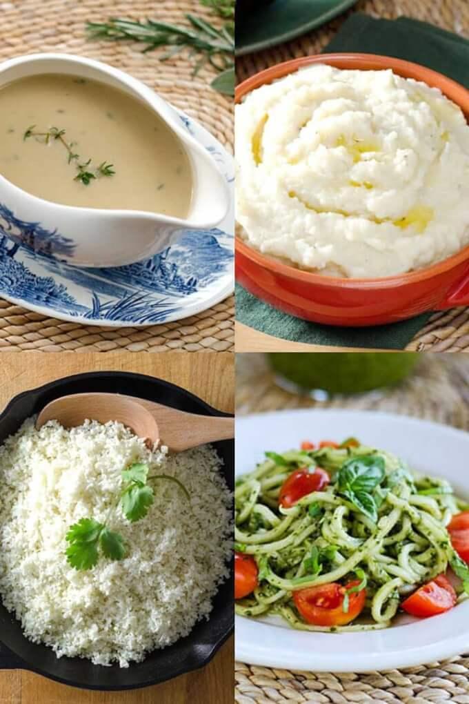 Keto gravy, cauliflower mashed potatoes, zucchini pasta pesto, cauli rice
