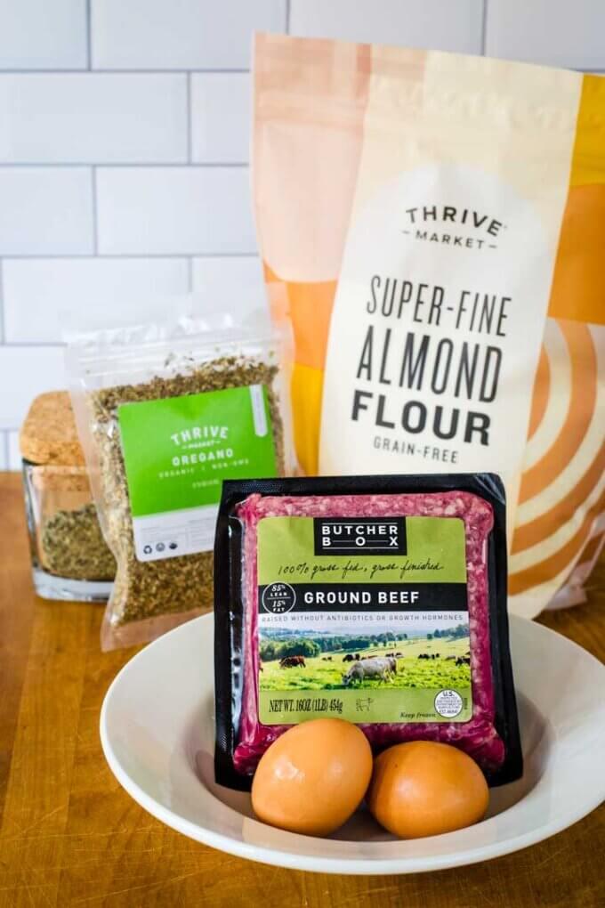 Butcher Box ground beef, herbs, eggs, almond flour