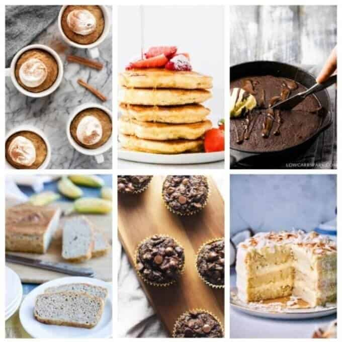 Keto coconut flour pancakes, bread, cake, muffins, desserts