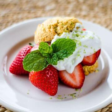 Almond flour strawberry shortcake with lime coconut cream