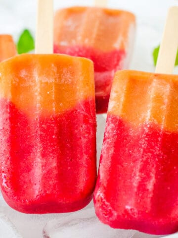 Strawberry peach real fruit popsicles,