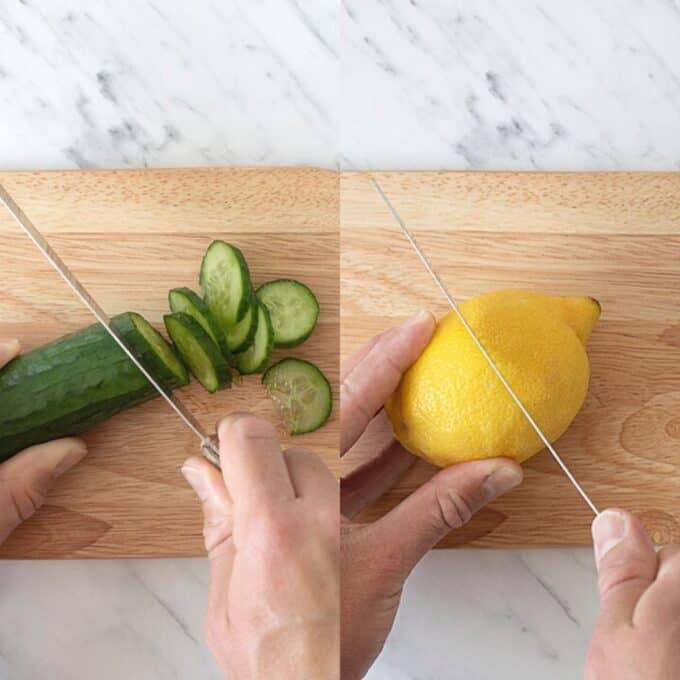Cutting cucumber and lemon