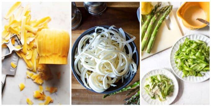 Butternut squash, celeriac and asparagus noodles